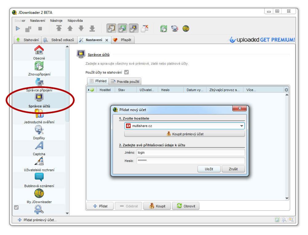 JDownloader settings | MultiShare cz